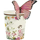 Talking Tables Truly Fairy Floral Disposable Cups for a Birthday Party or General Celebration, Pink & White (12 Pack)
