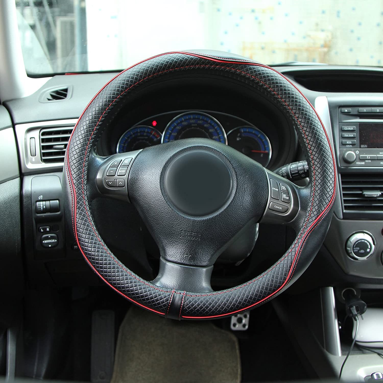 Dromedary Steering Wheels Covers Leather Steering Wheel Cover For Car Truck SUV Universal Black /& Red 15