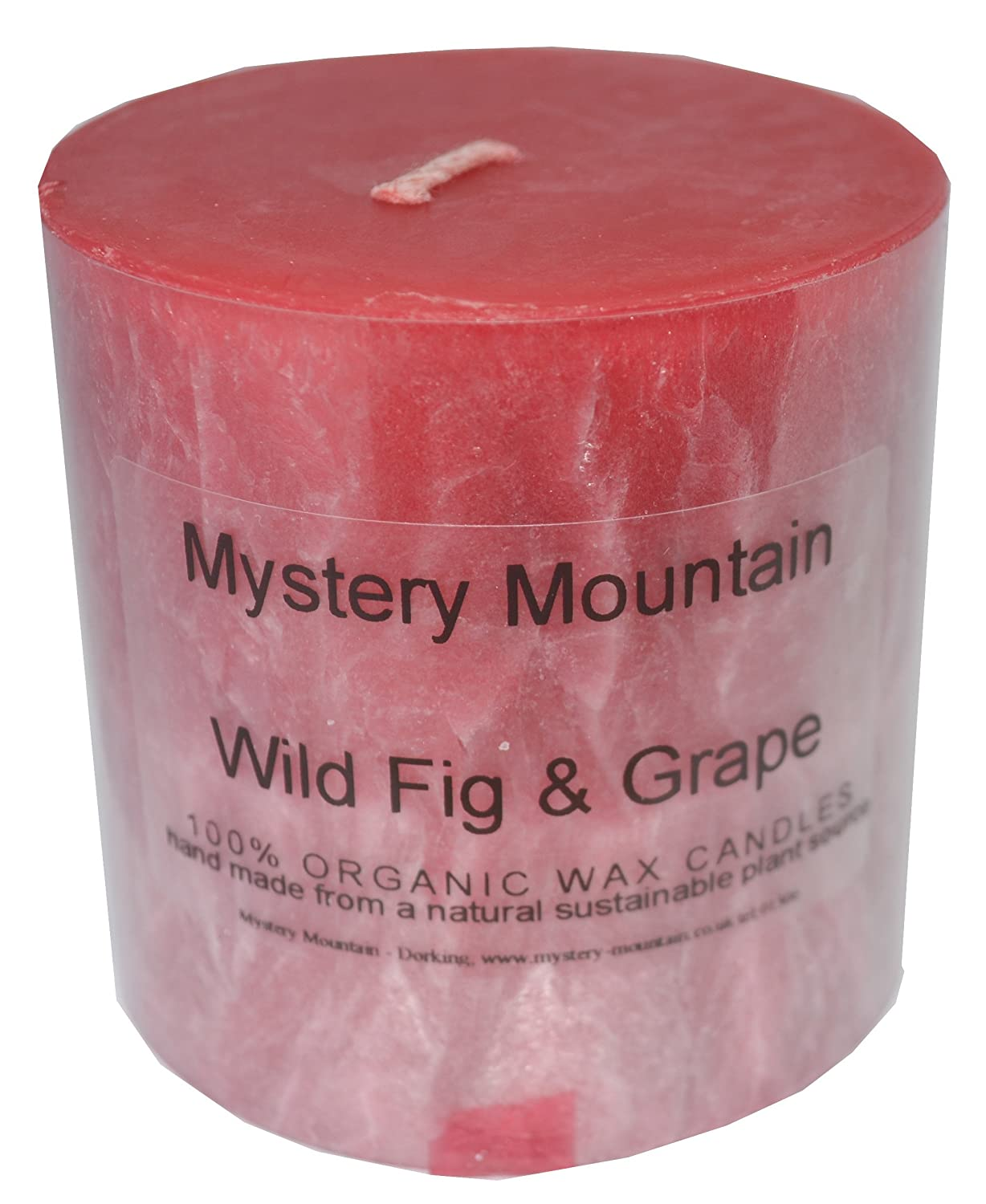 Mystery Mountain Large Chunky Wild Fig and Grape Scented 100% Organic Plant Wax Handmade Vegan Natural Pillar Candles-Approx 50 Hour Burning time-3 inchx 3 inch, Red, 7 x 7 x 7 cm 3