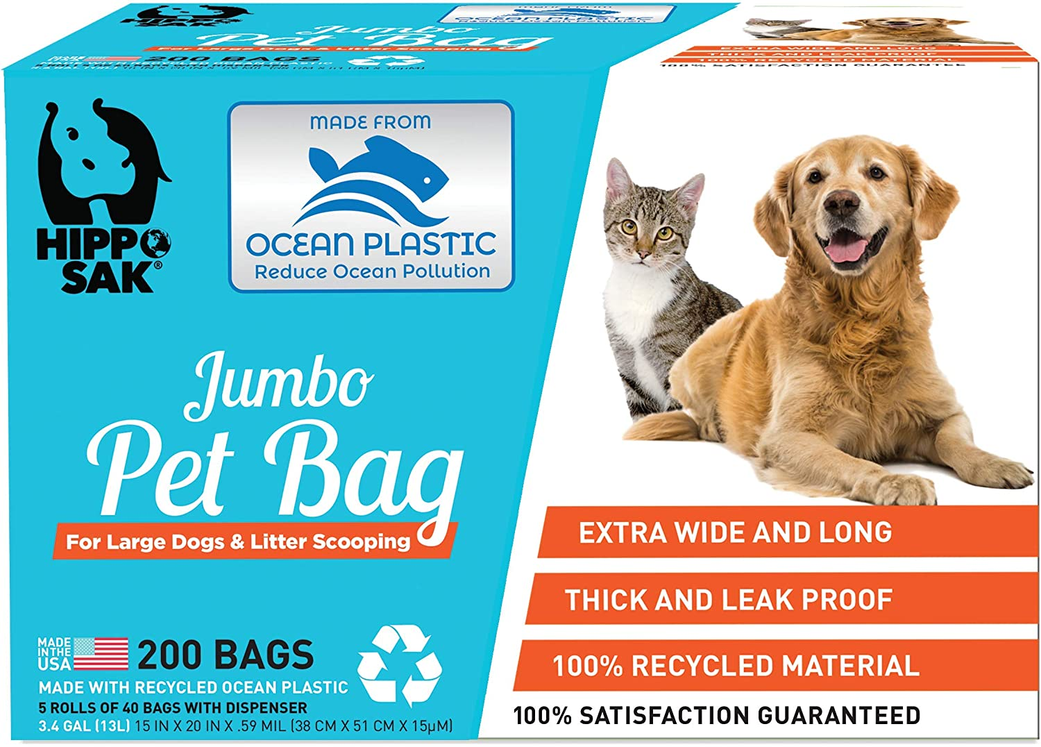 Hippo Sak Extra Large Pet Poop Bags with Dispenser, Made with Ocean Plastic, 200 Count