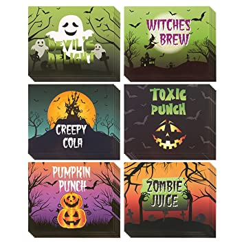 amazon com set of 36 bottle labels bottle stickers halloween