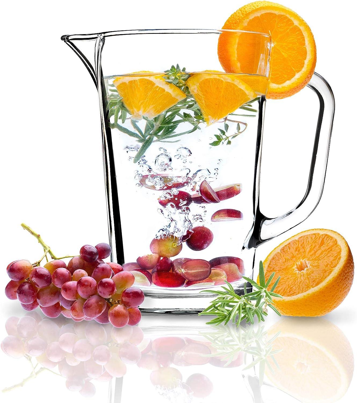 KADAX Jarra de cristal, jarra de cristal resistente, jarra de agua con caño y mango manejable, jarra de cristal para bebidas frías, zumo, leche, té helado, transparente