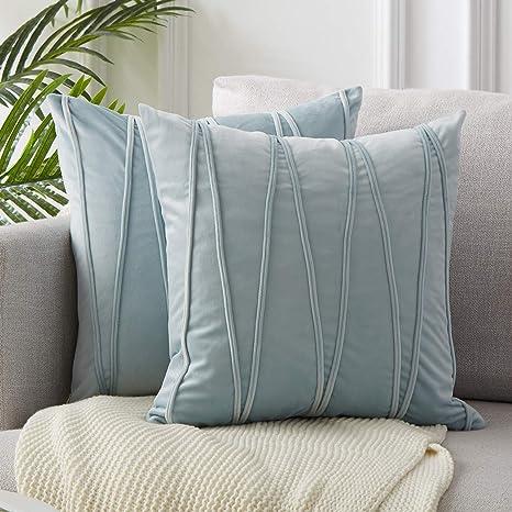 Topfinel 2 Juegos Hogar Cojín Terciopelo Suave Decorativa Almohadas Fundas de Color Sólido para Sala de Estar sofás 45x45cm Azul