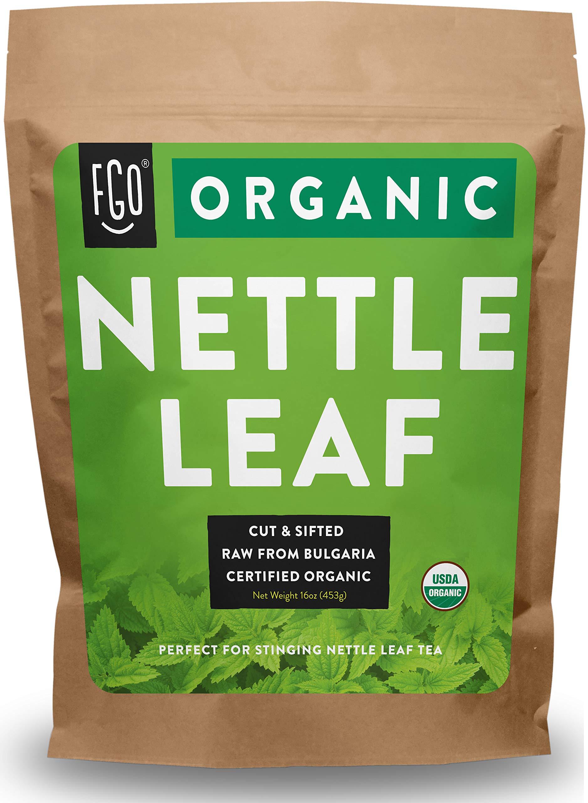 Organic Nettle Leaf | Herbal Tea (200+ Cups) | Cut & Sifted | 16oz Resealable Kraft Bag | 100% Raw From Bulgaria | by Feel Good Organics by FGO
