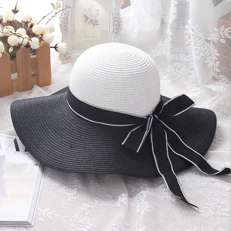 Wind Black White Striped Bowknot Summer Sun Hat Beautiful Women Straw Beach Hat Large Brimmed Hat