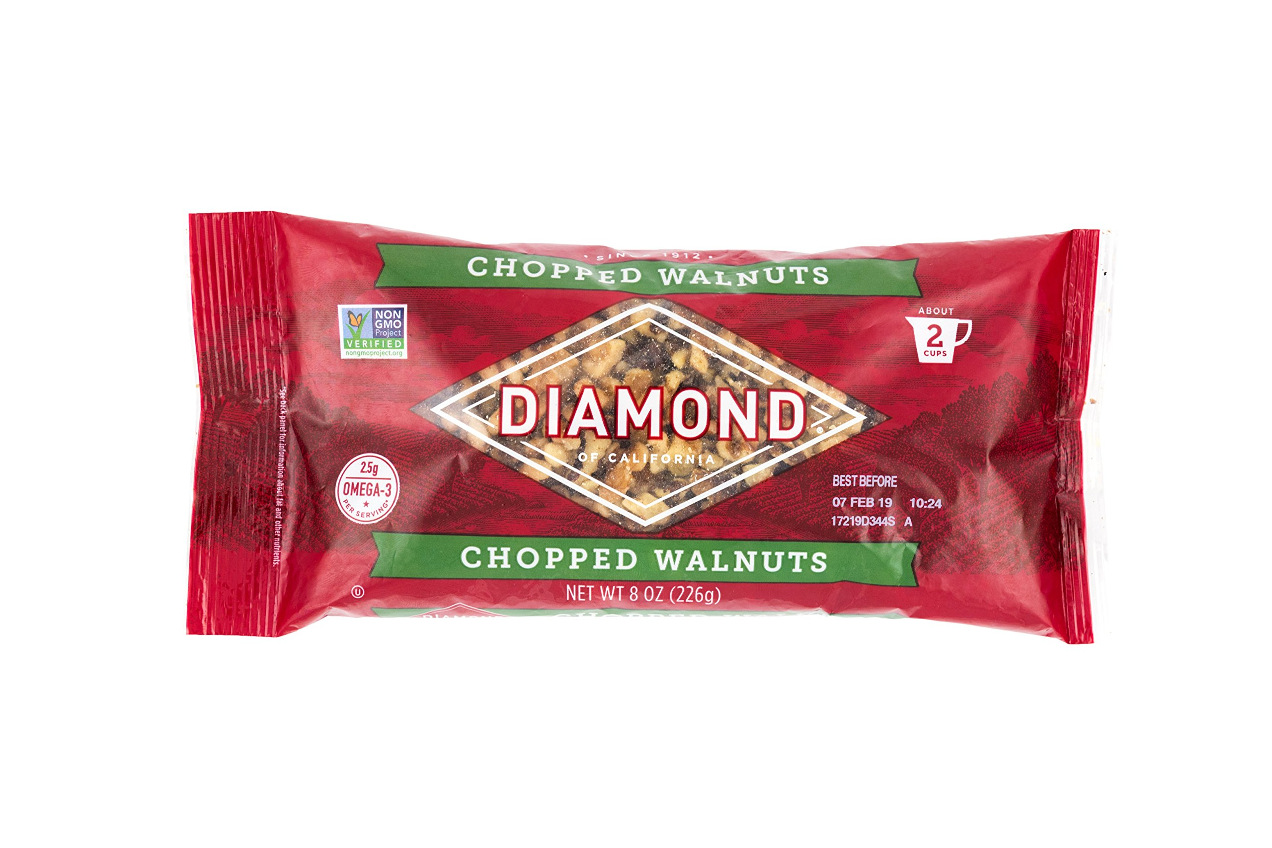Diamond of California, Chopped Walnuts, Non GMO, No Added Salt, 8 oz. (Pack of 12) by Diamond of California
