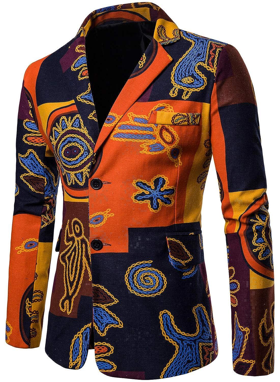 HENGAO Mens Casual Floral Printed Sport Coats Blazer Jacket