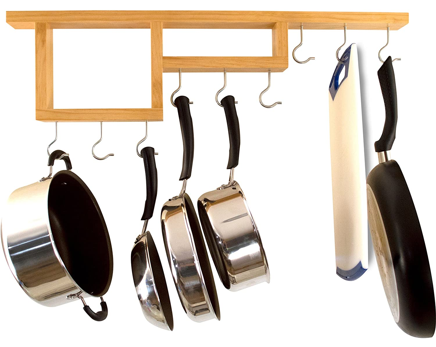 Pot Rack: Easy to Reach Ceiling Mount Solid-Wood Pan Hanger by HomeHarmony