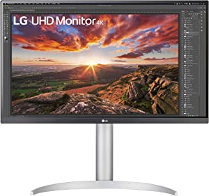 """LG 27UP850-W 27"""" UHD (3840 x 2160) IPS Monitor with VESA DisplayHDR 400 with DCI-P3 95% Color Gamut, USB-C and 3-Side Virtually Borderless Display - Height/Pivot/Tilt Adjustable Stand, Silver"""