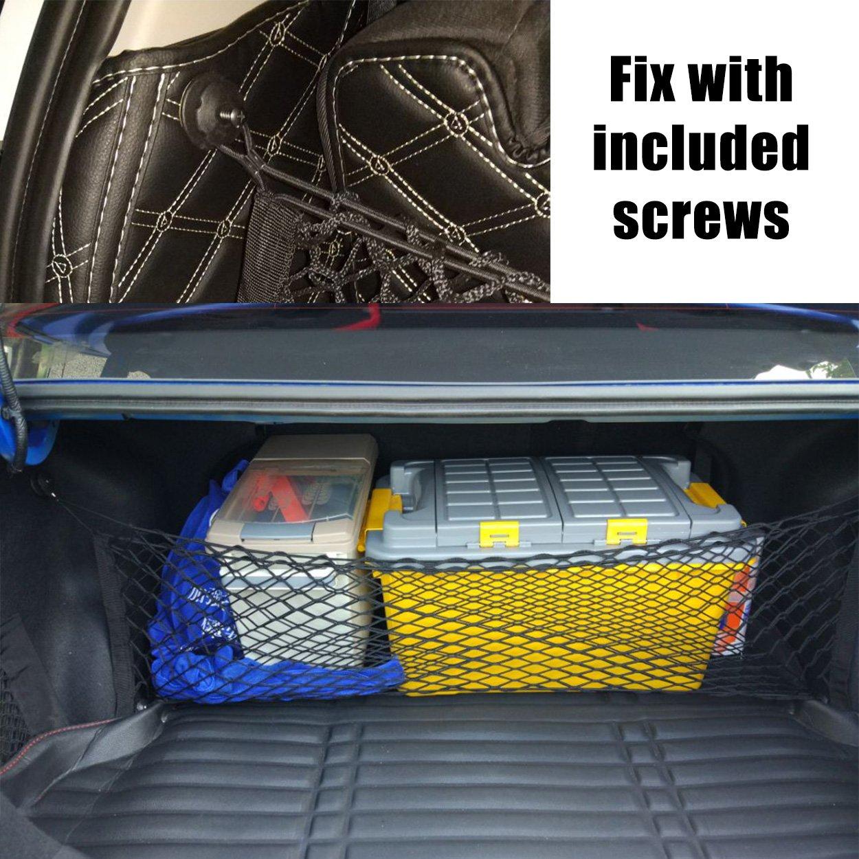 Naviurway 43.3 x 23.6 Black Universal Mesh Net Cargo Vehicle Trunk Storage Organizer for Trailer SUV Motorcycle ATV