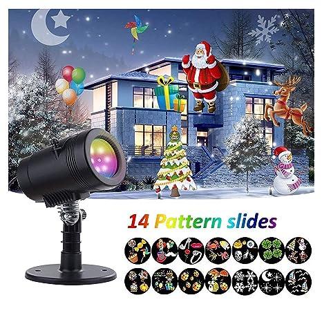 Proiettore Luci Di Natale Amazon.Luci Natale Led Proiettore Con 14 Lenti Intercambiabili Impermeabile Esterno Interno Rotazione Di Proiettore Luci Per Natale San Valentino