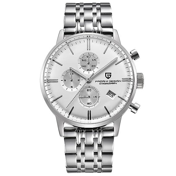 Relojes para Hombres a Prueba de Agua de Moda Reloj de Cuarzo Deportivos Clásicos Acero Inoxidable Calendario Analógicos Reloj De Pulsera para Hombre: ...