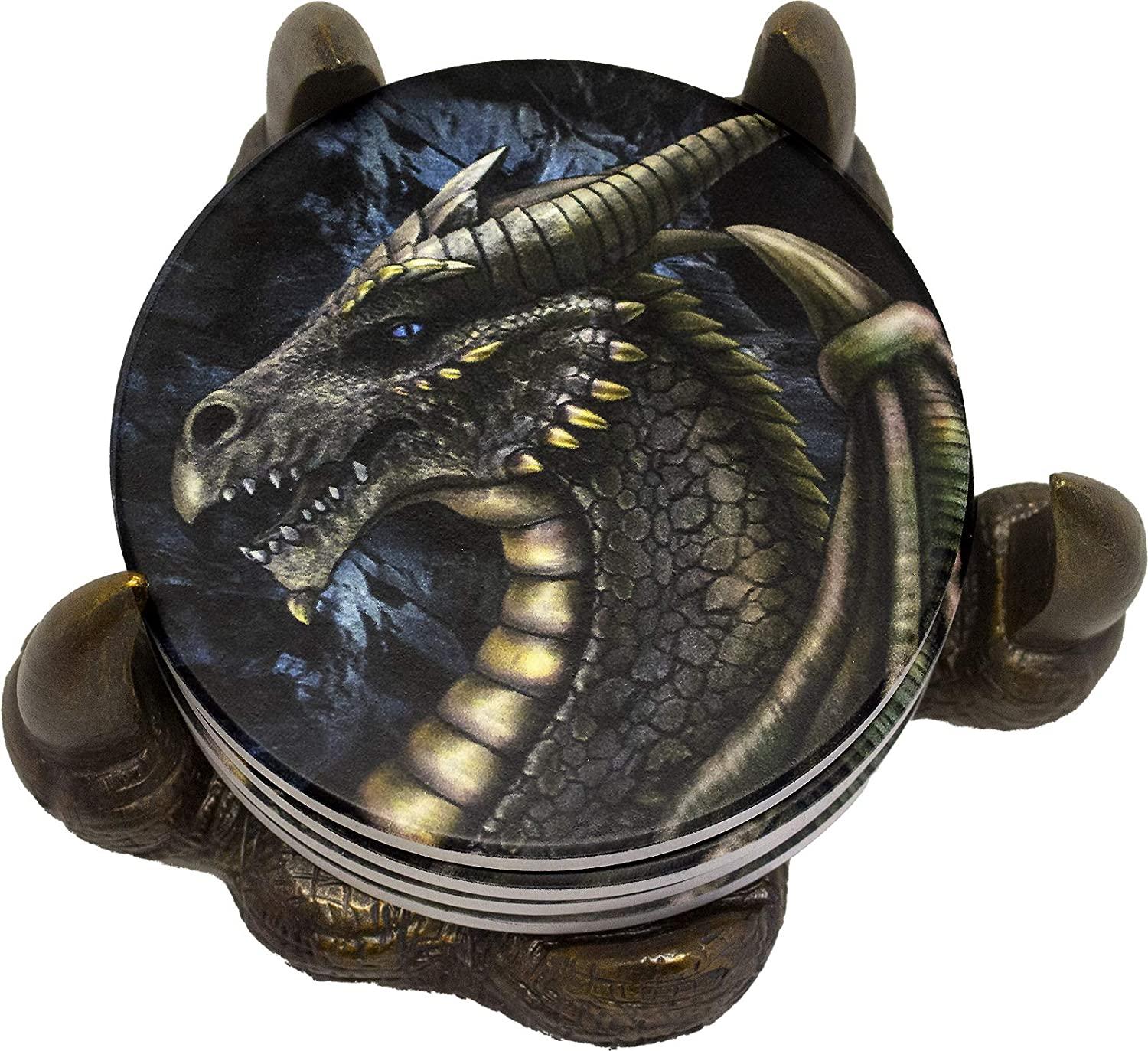 World of Wonders Gifts Ancient Guardians Series Dragon Claw (5 Piece Set) | Coasters for Drinks Absorbent with Holder Coaster | Outdoor Coasters | Ceramic Fantasy Coasters 6