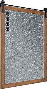 Kate and Laurel Cates Modern Farmhouse Barn Door Wood Framed Galvanized Metal Magnetic Memo Board, Rustic Brown