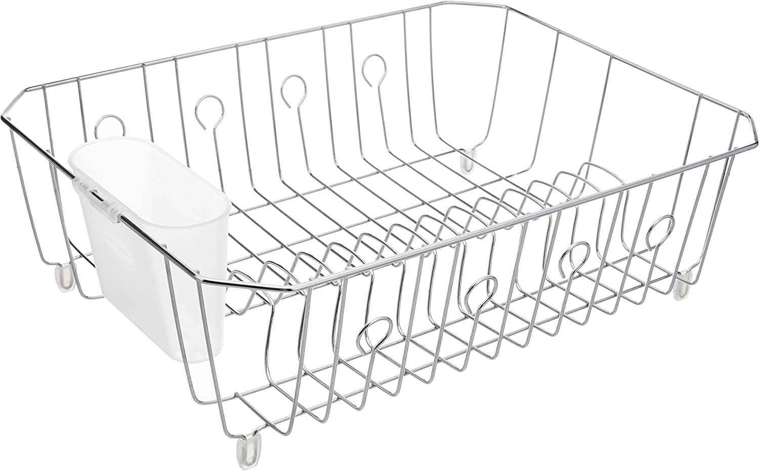Rubbermaid AntiMicrobial In-Sink Dish Drainer With Silverware Cup, Chrome, Large
