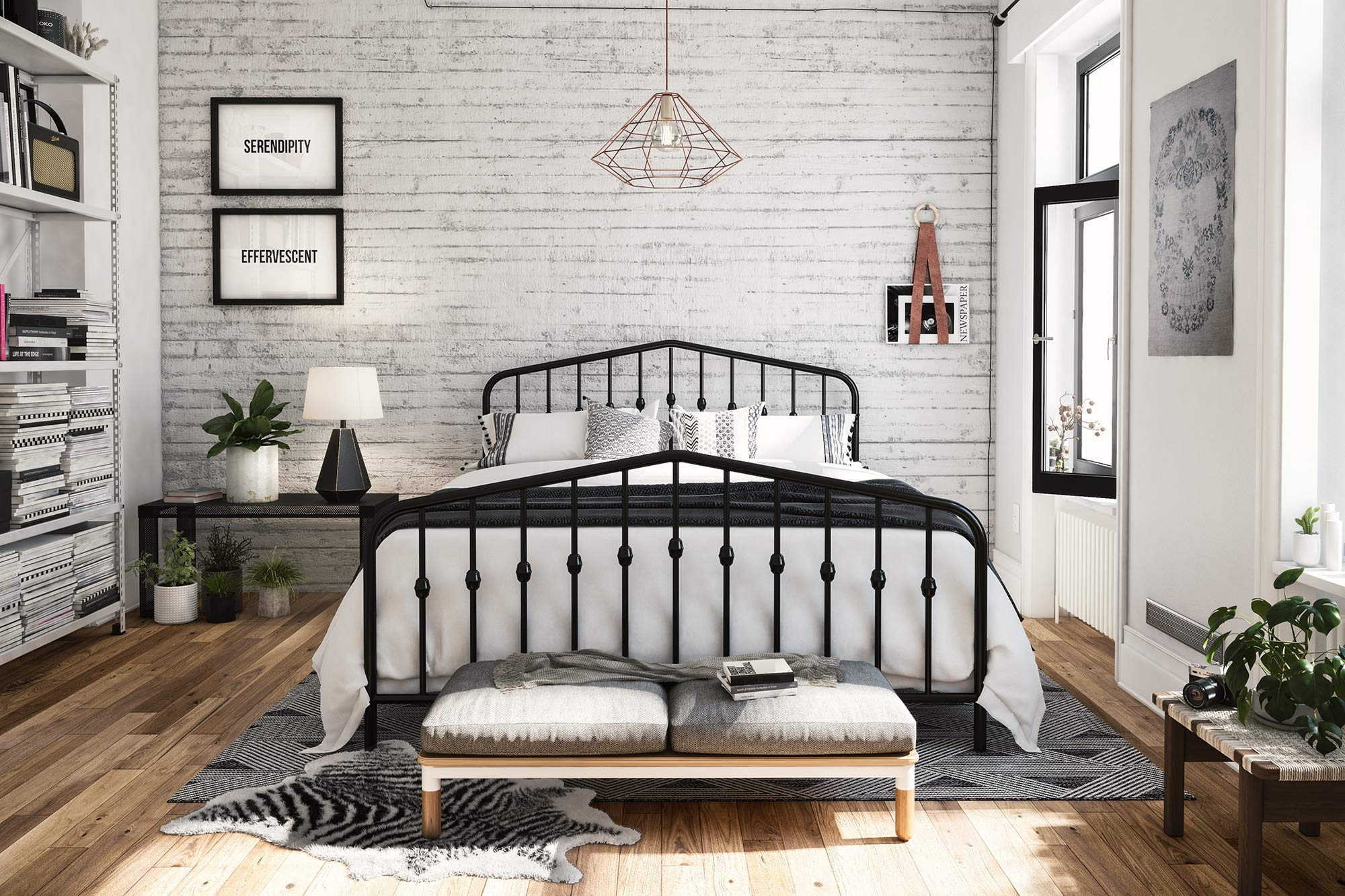 Novogratz 4044039N Bushwick Metal Bed, Queen, Black by Novogratz