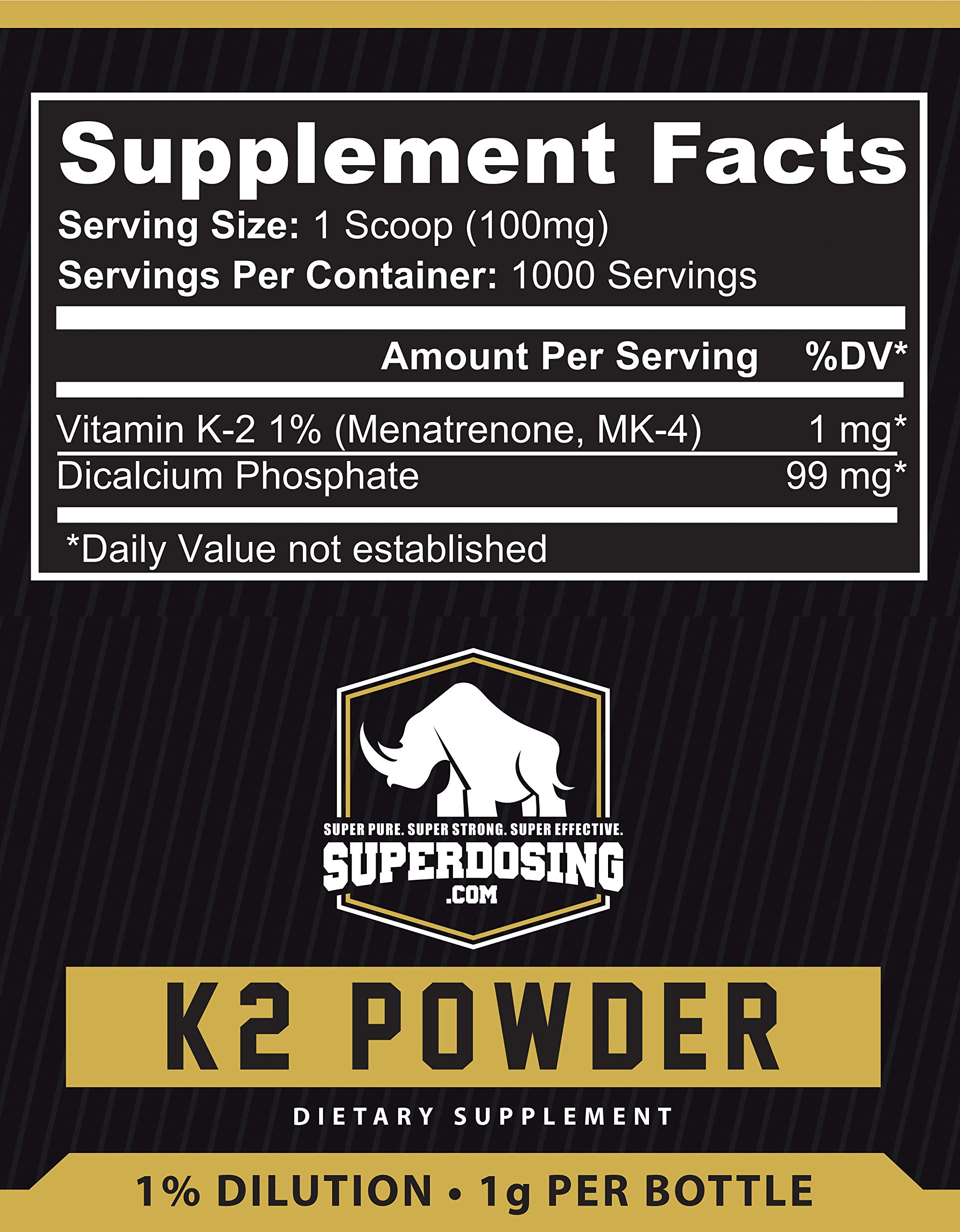 SuperDosings Bulk Vitamin K2 Powder 1000x 1mg Servings with Scoop. Buy High Strength Wholesale K-2 to Save & Supplement Your Health & Diet Regime. Essential For Strong & Healthy Bones, Joints & Heart