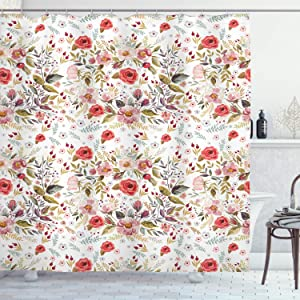 "Ambesonne Flower Shower Curtain, Hand Drawn Romantic Flowers and Leaves Spring Season Blossoms Garden Vintage Style, Cloth Fabric Bathroom Decor Set with Hooks, 70"" Long, Pink Red"