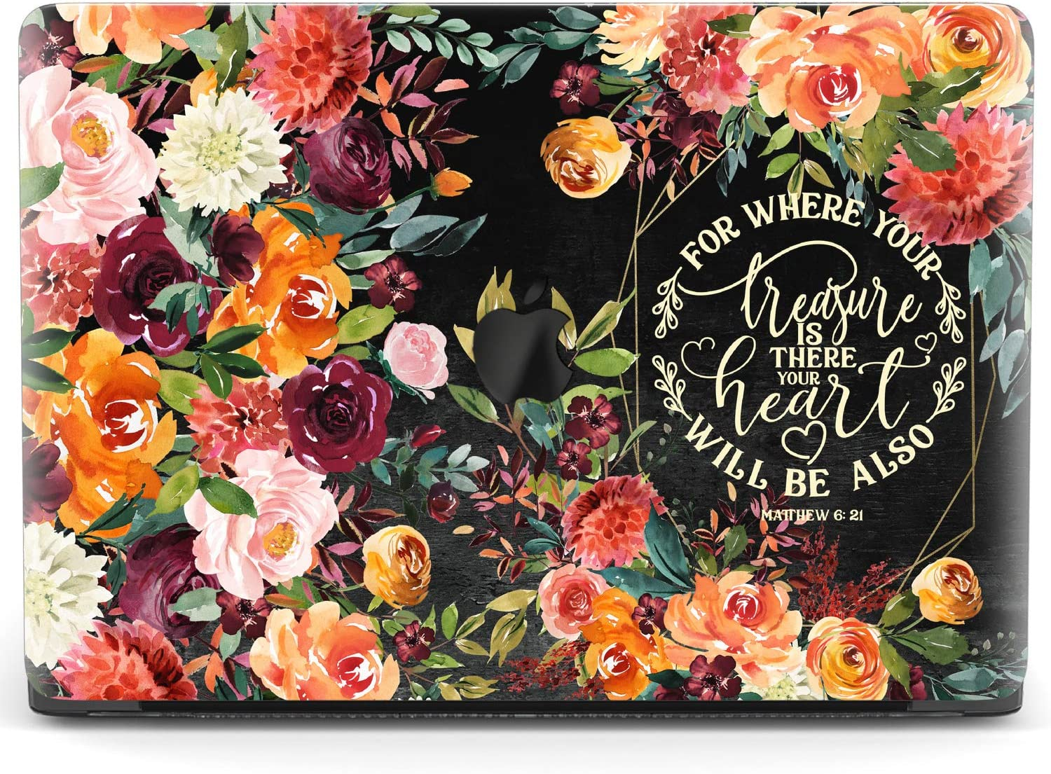 Mertak Hard Case for Apple MacBook Pro 15 2020 Air 13 inch Mac 16 Retina 12 11 2019 2018 2017 Matthew 6:21 Flowers Bible Verse Print Scripture Christian Quote Cover Touch Bar Laptop Clear