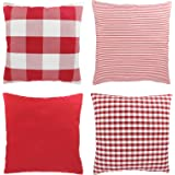 Throw Pillow Covers 18 x 18 Inches Set of 4, Red and White Buffalo Checkers Plaid Throw Cushion Case Cotton Canvas…