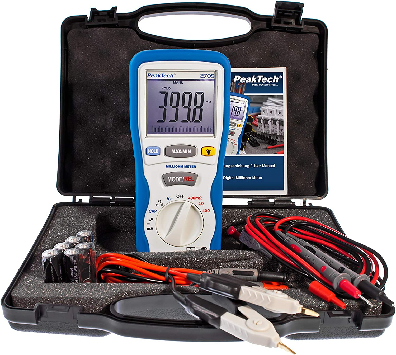 Peaktech Digital Milliohm Meter With 4 Pin Kelvin Test Leads Widest Measurements TÜv Gs Milliohm Meter Current Tester Multimeter Continuity Tester Bar Graph Cat Iii 1000 V P 2705 Baumarkt
