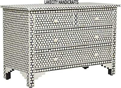 Bone Inlay 4-Drawer Hexagon Chest of Drawer in Grey color