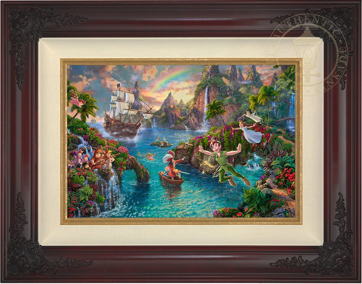 Disney Peter Pan's Never Land - Thomas Kinkade 12'' x 18'' Standard Number (S/N) Limited Edition Canvas (Brandy)
