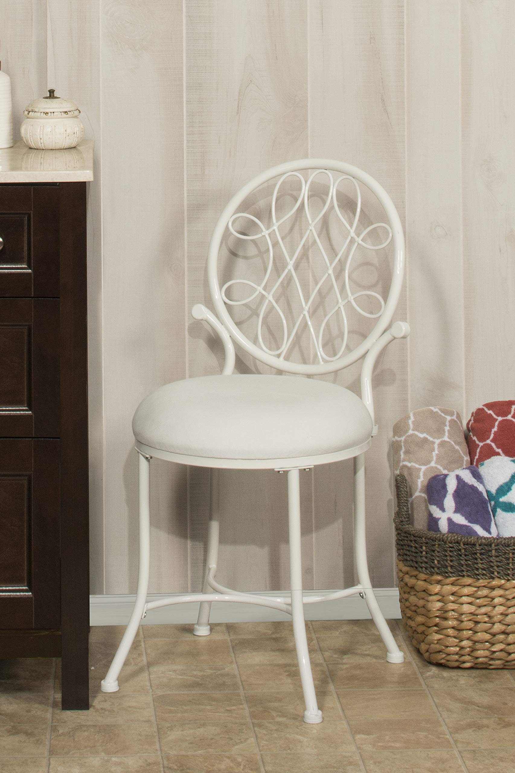 Hillsdale Furniture O'Malley Vanity Stool, White by Hillsdale Furniture