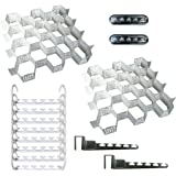 Wonder Hanger Deluxe Set – Includes 8 Original in white, 2 Over-the-Door in chrome finish, 2 LED Stick Up Lights and 2 Drawer Organizers