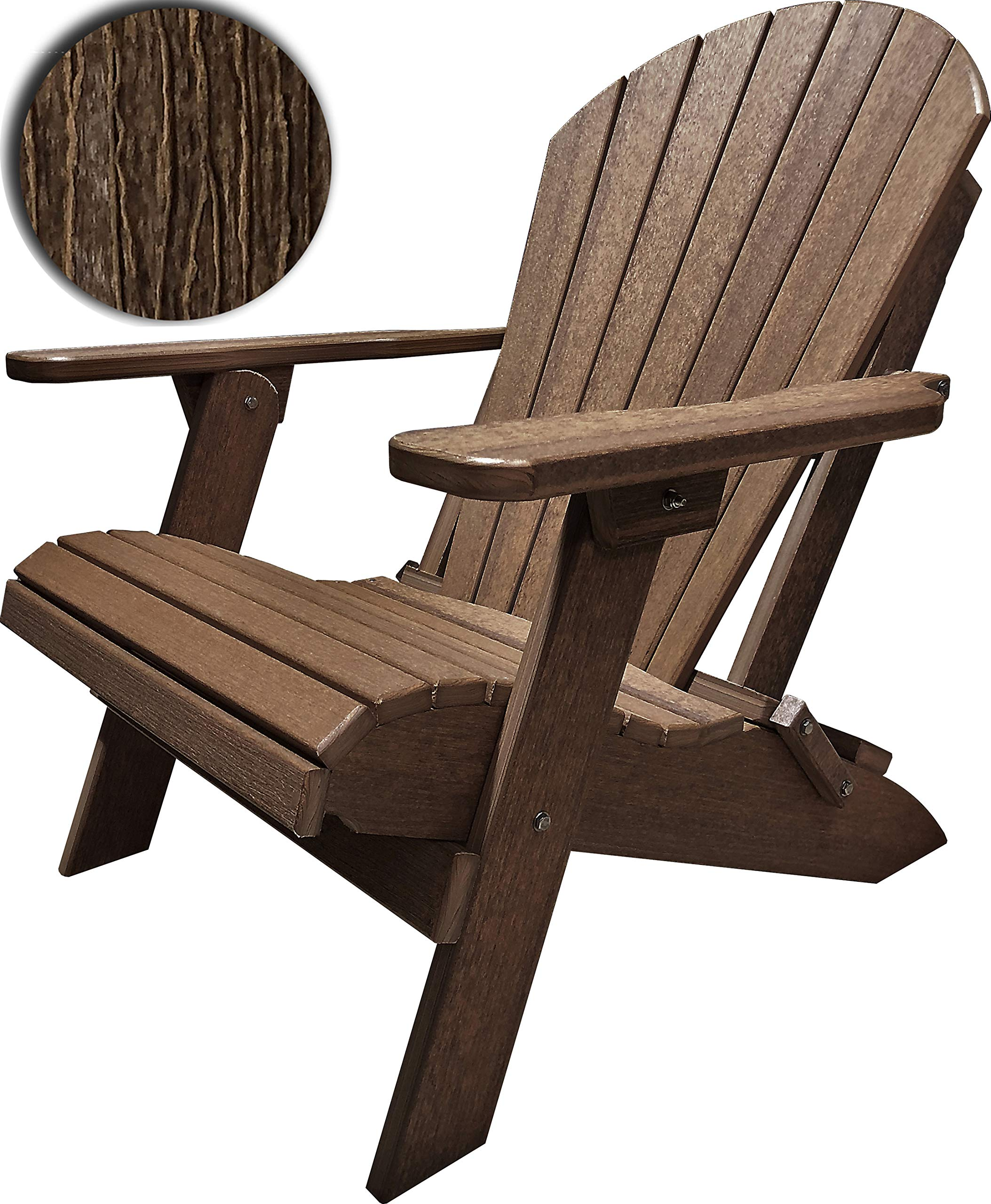 DuraWeather Poly King Size Folding Adirondack Chair (Antique Mahogany) by DuraWeather Poly