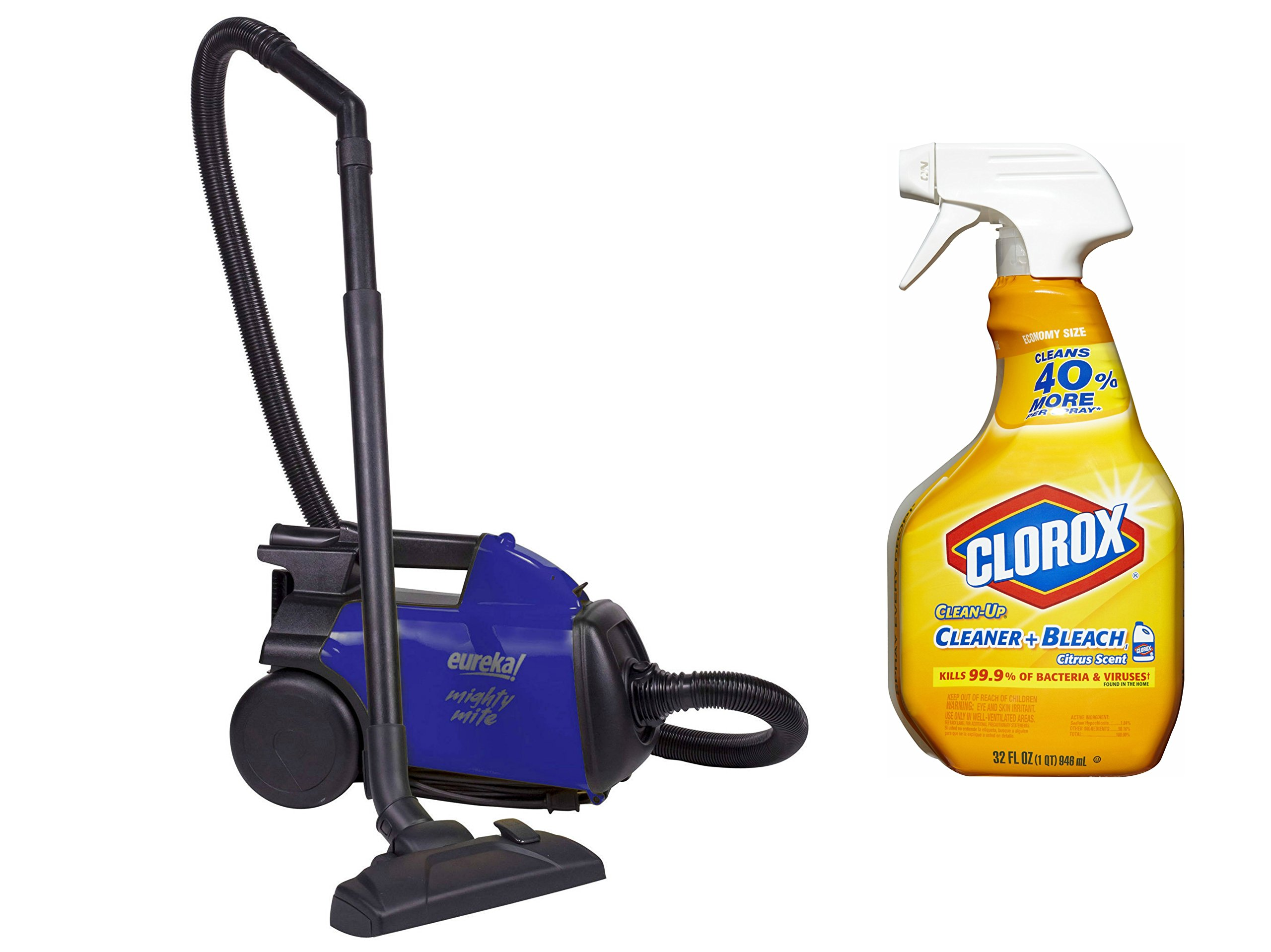 Eureka Mighty Mite Bagged Canister Vacuum, 3670H with Clorox 32-Ounce Clean-Up All Purpose Cleaner with Bleach Citrus Scent, Spray Bottle