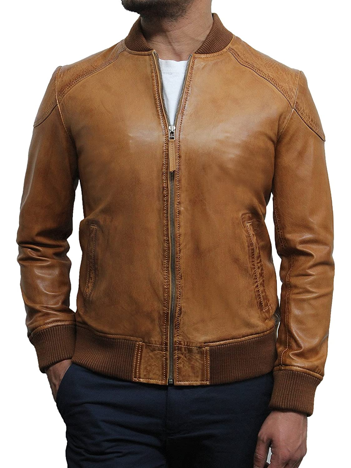 Mens Lamb Skin Tan Varsity Leather Jacket Designer Style