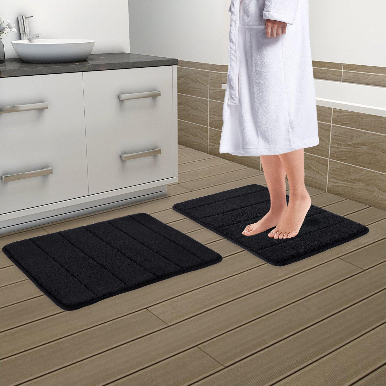 Drhob 2Pcs Black 17''x 24'' Non Slip Luxurious Microfiber Bathmat Absorbent Bath Rugs Memory Foam Bath Mats with Anti-Skid Bottom