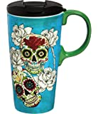"Cypress Home Day of the Dead 17 oz Boxed Ceramic Perfect Travel Coffee Mug or Tea Cup with Lid - 3""W x 5.25""D x 7""H"