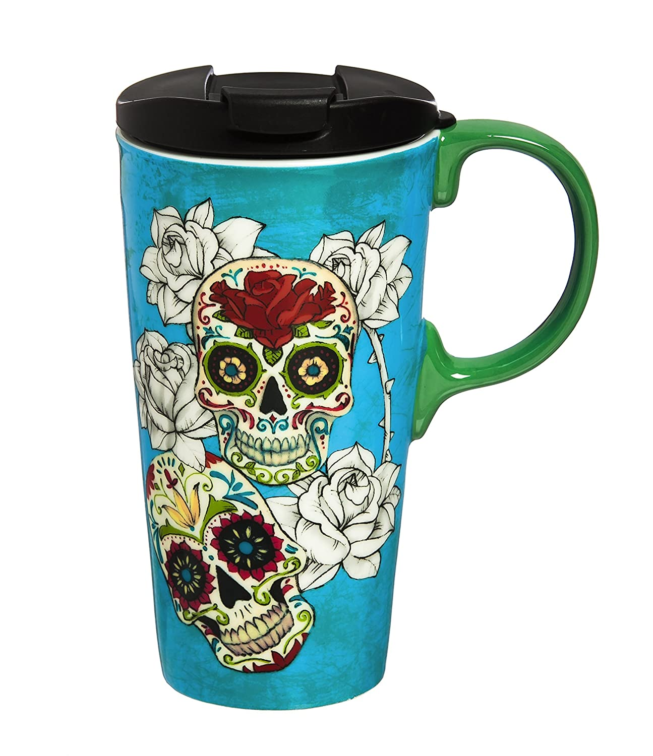"""Cypress Home Day of the Dead 17 oz Boxed Ceramic Perfect Travel Coffee Mug or Tea Cup with Lid - 3""""W x 5.25""""D x 7""""H"""