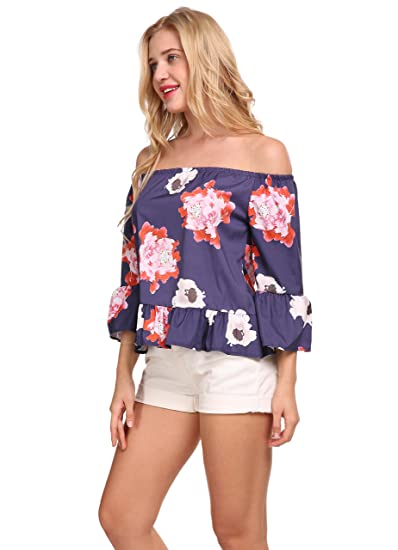 a1fa3bca65a4d Sweetichic Women s Casual Floral Print Off Shoulder Long Sleeve Chiffon  Blouse Top ...