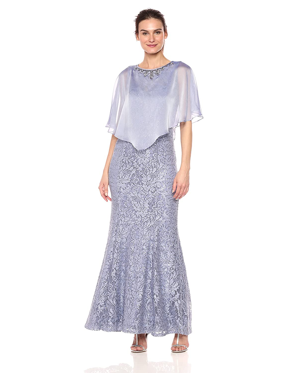 Peri Ignite Womens Sequin Lace Beaded Cape Gown Dress