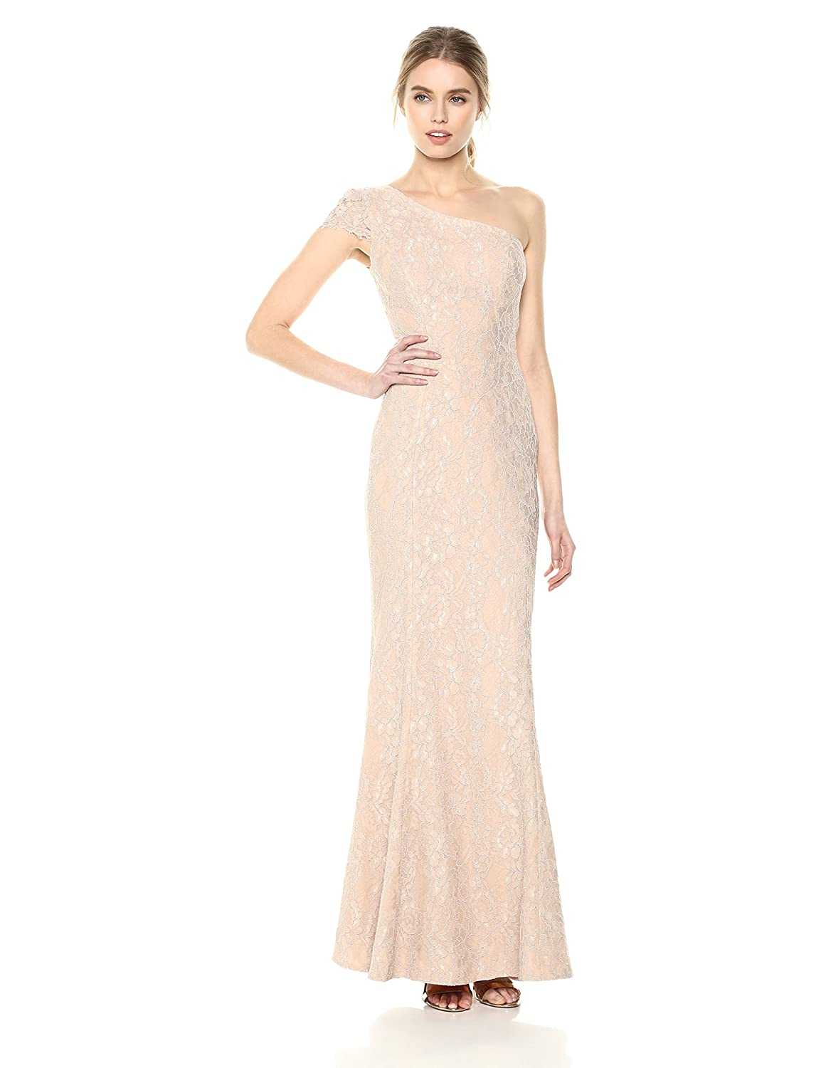 bluesh Nude Dress the Population Womens Valentina Lace Cap Sleeve One Shoulder Long Dress Special Occasion Dress