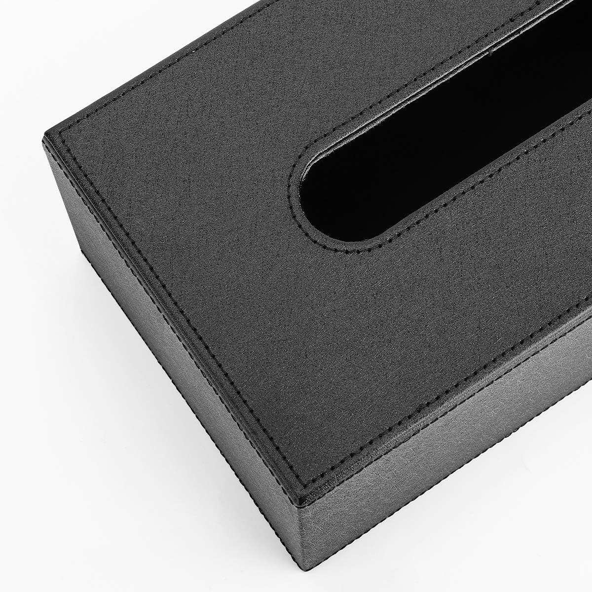 Organizer per Salviette per Camera Bagno Astuccio per Carta Igienica Custodia Magnetica per Fazzoletti Porta Fazzoletti in PU Pelle Luxspire Scatola Rettangolare per Fazzoletti Nero