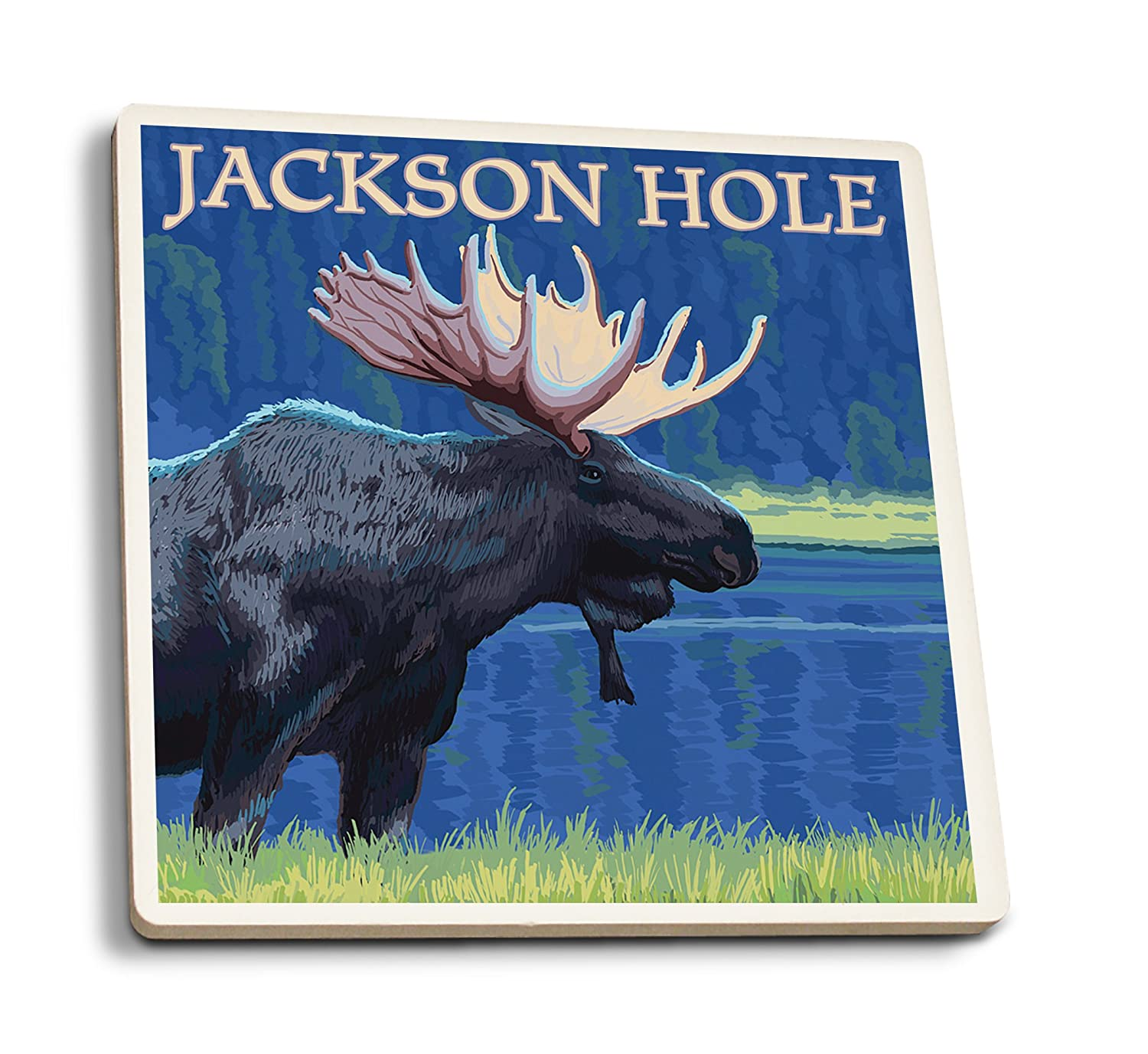 ジャクソン穴、ワイオミング州 – Moose at Night 4 Coaster Set LANT-32648-CT B01N3U9QDB  4 Coaster Set