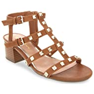Rampage Women's Milty Heeled Studded Dress Sandals with Studs