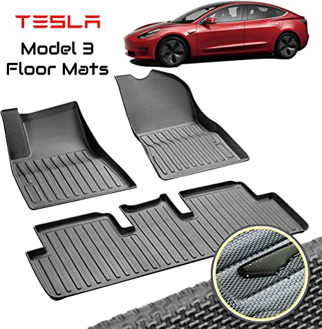 Homeland Hardware Sale Tesla Model 3 Floor Mats Liners Complete Set In Black For Models All Weather 4d Multi Layer Custom Laser Cut 4d Max Chain