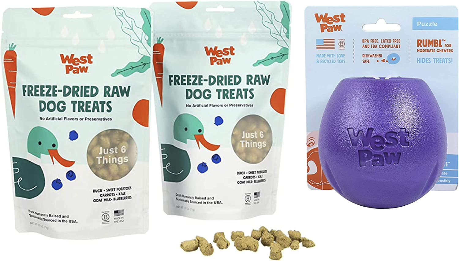 West Paw Duck Superfood Freeze-Dried Raw Dog Treats, 100% Grass Fed (2-Pack) & Zogoflex Rumbl Treat-Dispensing Dog Toy for Moderate Chewers, Fetch, Catch – Holds Kibble, Treats (Eggplant, Large)