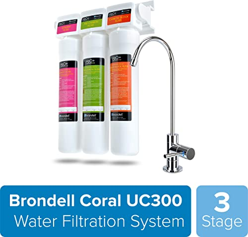 Brondell H2O Coral UC300 Three-Stage Undercounter Water Filtration System Water Purifier with Designer Chrome Faucet Quick Change Filter, WQA Gold Seal-Certified