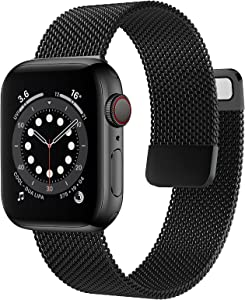OUHENG Compatible with Apple Watch Bands 40mm 38mm 44mm 42mm, Magnetic Stainless Steel Mesh Loop Metal Band Strap for iWatch Series 6/5/4/3/2/1 SE (Black, 40mm 38mm)