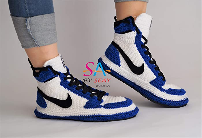 c4a2fc0883a Amazon.com: Crochet Style Air Jordan 1 Retro High OG BG Storm Blue Slipper, Air  jordan Blue Knitting Sneaker, Air Jordan Flyknit Crochet Slippers: Handmade