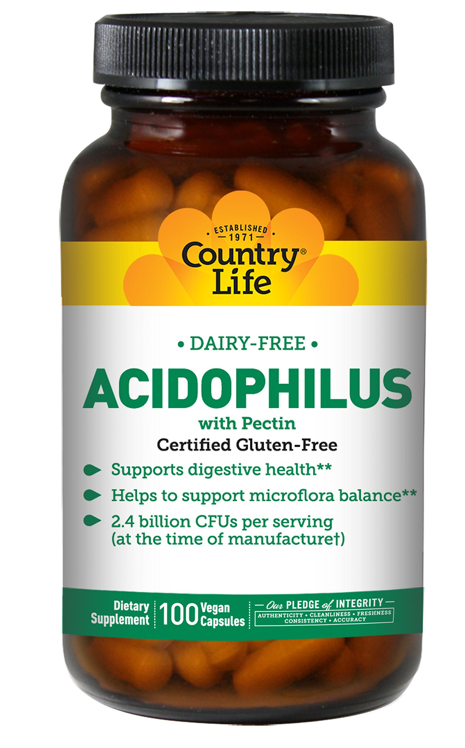 Country Life - Natural Dairy-Free Acidophilus with Pectin - 100 Vegan Capsules