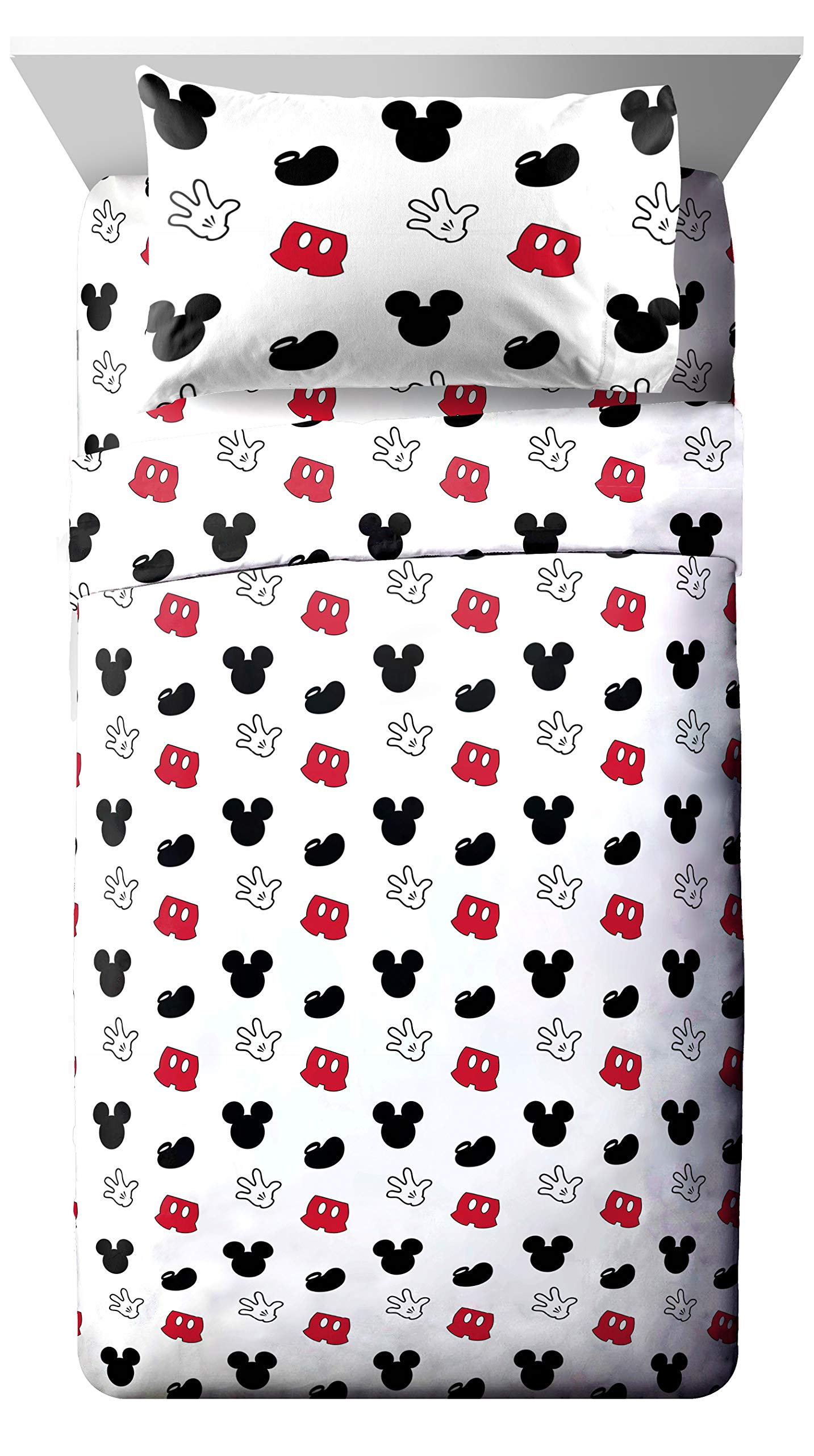 Jay Franco Disney Mickey Mouse Cute Faces Full Sheet Set - Super Soft and Cozy Kid's Bedding - Fade Resistant Polyester Microfiber Sheets (Official Disney Product)