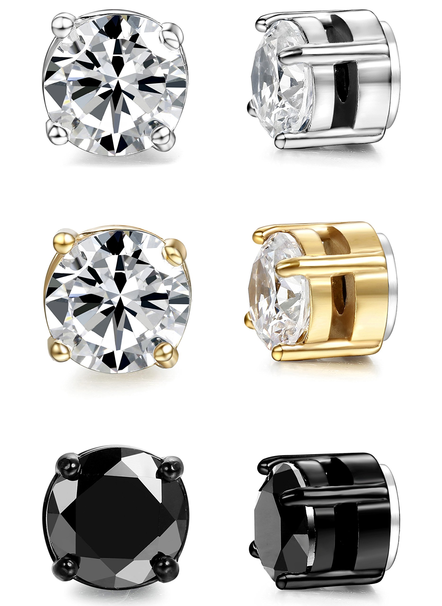 ORAZIO 3 Pairs Stainless Steel Magnetic Stud Earrings for Womens Mens Non Piercing Cubic Zirconia 8mm by ORAZIO (Image #7)