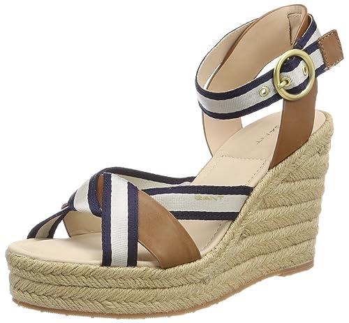 Jenny, Zapatos de Tacón con Punta Abierta para Mujer, Mehrfarbig (Marine/Tan), 42 EU GANT